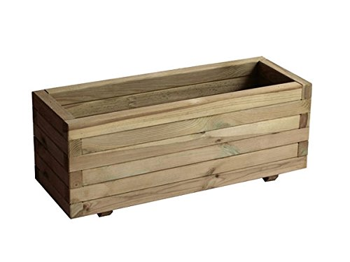 Jardinera rectangular en madera tratada