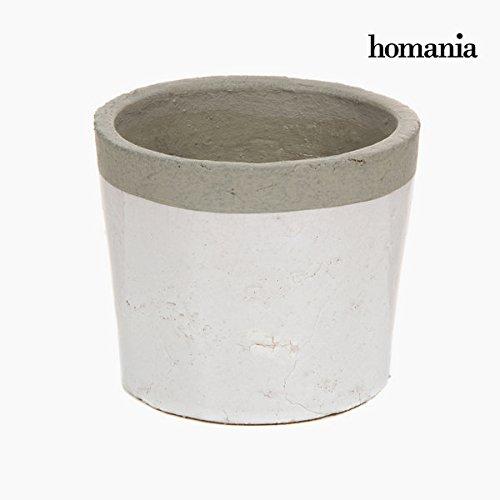 Macetero cerámica blanco y gris
